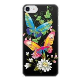 """Чехол для iPhone 7, объёмная печать """"БАБОЧКИ ФЭНТЕЗИ"""" - бабочки, цветы, стиль, красота, яркость"""
