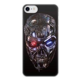 """Чехол для iPhone 7, объёмная печать """"ТЕРМИНАТОР. красивые фильмы"""" - череп, киборг, красные глаза, стиль эксклюзив креатив красота яркость, арт фэнтези"""