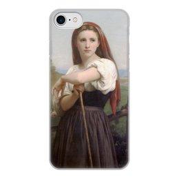 """Чехол для iPhone 7, объёмная печать """"Юная пастушка (картина Вильяма Бугро)"""" - картина, академизм, живопись, бугро, крестьянка"""