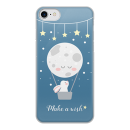 "Чехол для iPhone 7, объёмная печать ""Загадай желание"" - звезды, заяц"