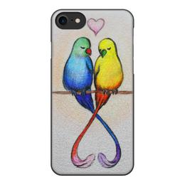 """Чехол для iPhone 7, объёмная печать """"Нежность на ветках"""" - любовь, рисунок, природа, пара, нежность"""