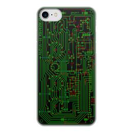 """Чехол для iPhone 7, объёмная печать """"Печатная плата"""" - электроника, электрика, технологии, микросхема, печатная плата"""