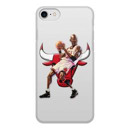 """Чехол для iPhone 7, объёмная печать """"Michael Jordan Cartooney"""" - 23, чикаго, бык, chicago bulls, джордан"""