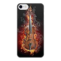 """Чехол для iPhone 7, объёмная печать """"МУЗЫКА ФЭНТЕЗИ"""" - огонь, скрипка, красота, яркость, стиль"""