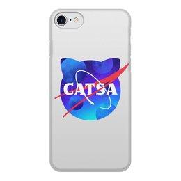 """Чехол для iPhone 7, объёмная печать """"catsa"""" - cat, космос, nasa, наса, catsa"""