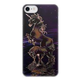 """Чехол для iPhone 7, объёмная печать """"ЕДИНОРОГ"""" - стиль, красота, вода, фэнтези, звездное небо"""