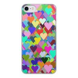 """Чехол для iPhone 7, объёмная печать """"Тысяча цветных сердец"""" - сердце, любовь, девушка, подарок, символ"""