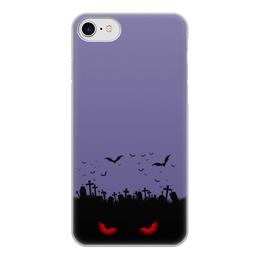 """Чехол для iPhone 7, объёмная печать """"Взгляд оттуда"""" - хэллоуин, рисунок, взгляд, летучие мыши, кладбище"""