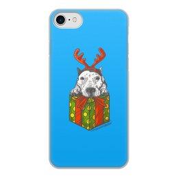 """Чехол для iPhone 7, объёмная печать """"новый год"""" - новый год, зима, собака, подарок, год собаки"""