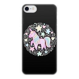 """Чехол для iPhone 7, объёмная печать """"Unicorn"""" - розовый, единорог, орнамент, голубой, узор"""