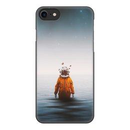 """Чехол для iPhone 7, объёмная печать """"Space in ocean"""" - бабочки, space, космос, океан, космонавт"""