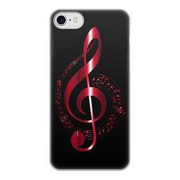 """Чехол для iPhone 7, объёмная печать """"МУЗЫКА"""" - скрипичный ключ, нотный знак, стиль эксклюзив креатив красота яркость, арт фэнтези"""