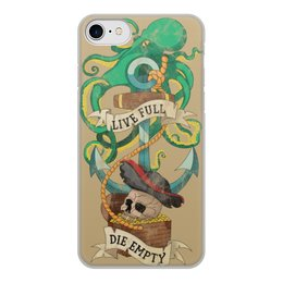 """Чехол для iPhone 7, объёмная печать """"Осьминог"""" - татуировка, якорь, пират, old school, череп"""