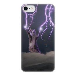 """Чехол для iPhone 7, объёмная печать """"Кот Тесла"""" - мем, гроза, cat, котик, молния"""