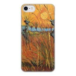 """Чехол для iPhone 7, объёмная печать """"Обрезанные ивы и закат (Винсент Ван Гог)"""" - картина, пейзаж, ван гог, живопись, постимпрессионизм"""