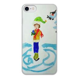 """Чехол для iPhone 7, объёмная печать """"Зимние забавы"""" - снег, снежинка, коньки"""