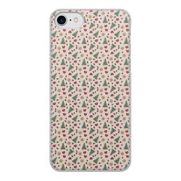 """Чехол для iPhone 7, объёмная печать """"Праздник"""" - сердце, звезды, снег, игрушки, елки"""