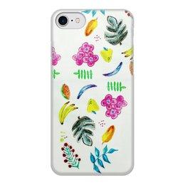"""Чехол для iPhone 7, объёмная печать """"Фрукты"""" - цветы, фрукты, листья, ягоды, вкусно"""