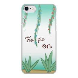 """Чехол для iPhone 7, объёмная печать """"Tropic"""" - растения, алое, тропик, tropic, aloe"""