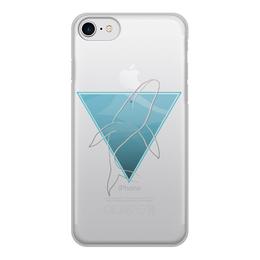 """Чехол для iPhone 7, объёмная печать """"Кит в морском треугольнике"""" - море, треугольник, кит, геометрия, goroshek"""