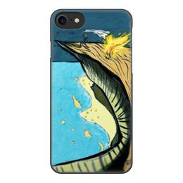 """Чехол для iPhone 7, объёмная печать """"sea and rocks"""" - море, скалы, рисунок, арт, природа"""