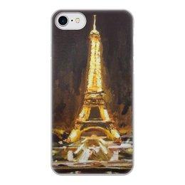 """Чехол для iPhone 7, объёмная печать """"Париж"""" - шоколад, париж, paris, эйфелева башня"""