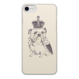"""Чехол для iPhone 7, объёмная печать """"Английский бульдог"""" - королева, корона, англия, английский бульдог, собака"""