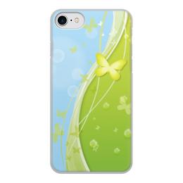 """Чехол для iPhone 7, объёмная печать """"Летний мотив"""" - бабочки, лето, небо, трава, мыльные пузыри"""