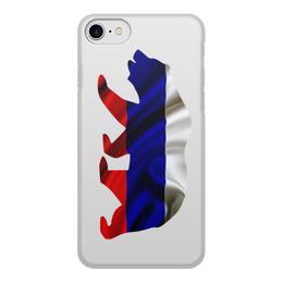 """Чехол для iPhone 7, объёмная печать """"Русский Медведь"""" - bear, медведь, русский, флаг, russian"""