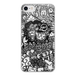 """Чехол для iPhone 7, объёмная печать """"Иллюстрация"""" - звезда, люди, баран, ананас, козел"""