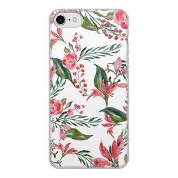 """Чехол для iPhone 7, объёмная печать """"Цветы на белом"""" - цветы, роза, листья, природа, пион"""