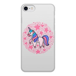 """Чехол для iPhone 7, объёмная печать """"Unicorn"""" - узор, звезды, сердце, розовый, единорог"""