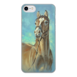 """Чехол для iPhone 7, объёмная печать """"ЛОШАДЬ"""" - лошадь, картина, иллюстрация"""