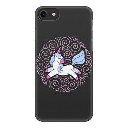 """Чехол для iPhone 7, объёмная печать """"Unicorn"""" - голубой, узор, единорог, орнамент, розовый"""