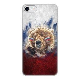 """Чехол для iPhone 7, объёмная печать """"Русский Медведь"""" - флаг, триколор, россия, футбол, медведь"""