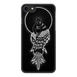 """Чехол для iPhone 7, объёмная печать """"Птица и маяк"""" - птица, графика, маяк, чернобелое, дотворк"""