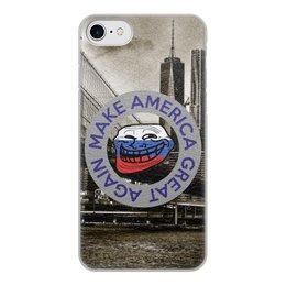 "Чехол для iPhone 7, объёмная печать ""Make America Great Again"" - trollface, америка, путин, трамп, троллфэйс"