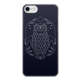 """Чехол для iPhone 7, объёмная печать """"Ночной страж"""" - ночь, сова, геометрия, минимализм, страж"""