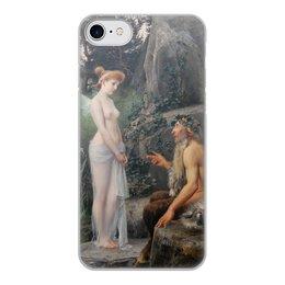 """Чехол для iPhone 7, объёмная печать """"Пан утешает Психею (Эрнст Климт)"""" - картина, мифология, эрнст климт"""