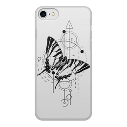 """Чехол для iPhone 7, объёмная печать """"Чехол Butterfly abstract geometry"""" - tattoo, насекомые, минимализм, геометрия"""