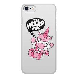 """Чехол для iPhone 7, объёмная печать """"Unicorn"""" - розовый, единорог, привет, надпись, hello"""