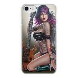 """Чехол для iPhone 7, объёмная печать """"МУЗЫКА ФЭНТЕЗИ"""" - девушка, гитара, стиль, красота, татуировка"""