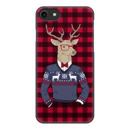 """Чехол для iPhone 7, объёмная печать """"Олень Хипстер"""" - новый год, клетка, олень, хипстер"""