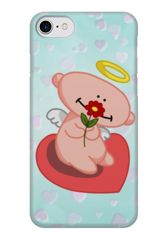 Чехол для iPhone 7 глянцевый Printio Влюбленный ангелок с сердцем