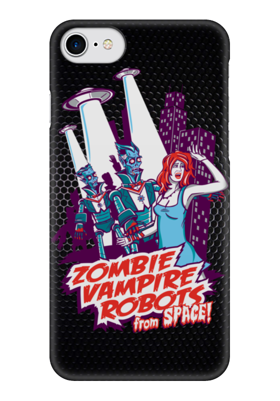 Чехол для iPhone 7 глянцевый Printio Zombie, vampire, robots