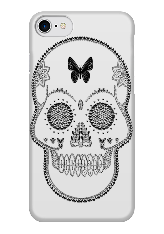 Чехол для iPhone 7 глянцевый Printio Череп - бабочка чехол для iphone 7 глянцевый printio динозаврики
