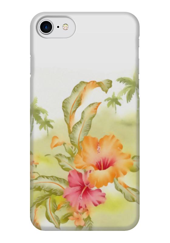 Чехол для iPhone 7 глянцевый Printio Тропические цветы, пальмы.