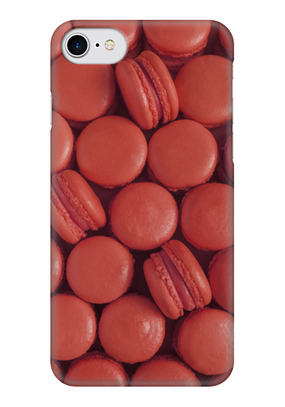 Чехол для iPhone 7 глянцевый Printio Пирожные макаронс красные