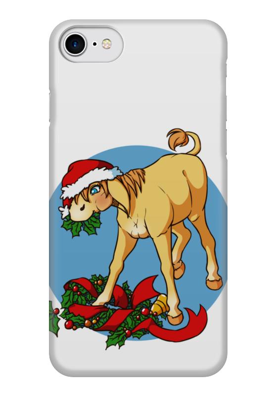 Чехол для iPhone 7 глянцевый Printio Новогодний ослик козэра п ослик