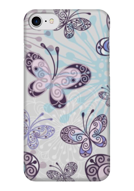 Чехол для iPhone 7 глянцевый Printio Фиолетовые бабочки какой iphone лучше для россии
